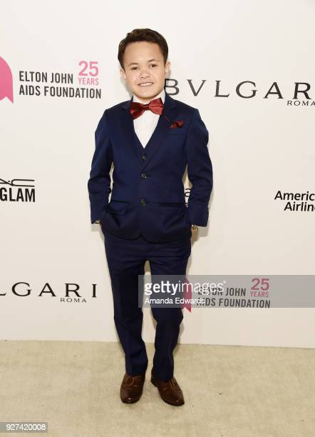 Actor Sam Humphrey arrives at the 26th Annual Elton John AIDS Foundation's Academy Awards Viewing Party on March 4 2018 in West Hollywood California
