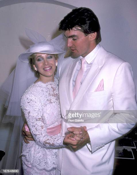 Actor Sam J Jones and fiance Lynn Eriks pose for photographs at their wedding reception on May 1 1982 at the Berwin Entertainment Center in Hollywood...