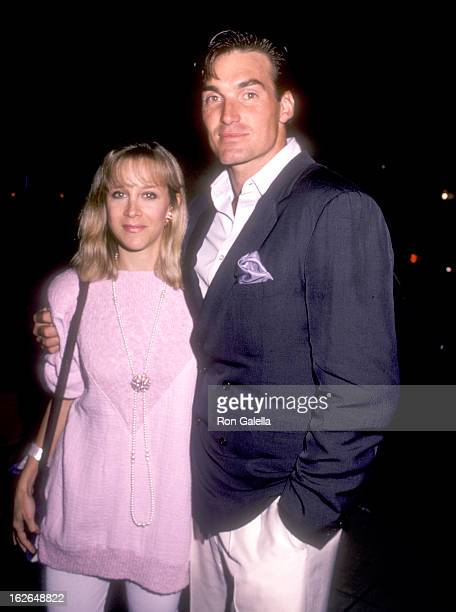 Actor Sam J Jones and wife Lynn Eriks attend the Party for Celebrity Focus Magazine on August 7 1986 at Bel Age Hotel in West Hollywood California