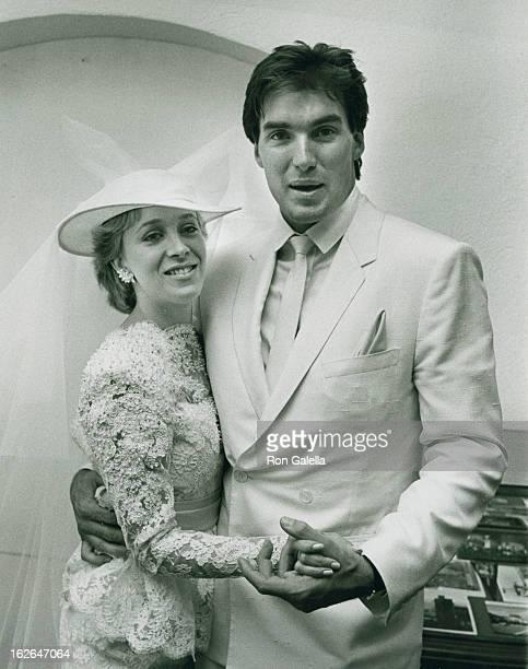Actor Sam Jones and wife Lynn Eriks attend Sam JonesLynn Eriks Wedding Reception on May 1 1982 at the Berwin Entertainment Complex in Hollywood...