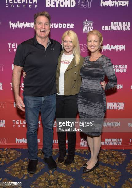 Actor Sam Jones director Lisa Downs and actress Melody Anderson attend the west coast premiere of Life After Flash at 2018 Beyond Fest at the...