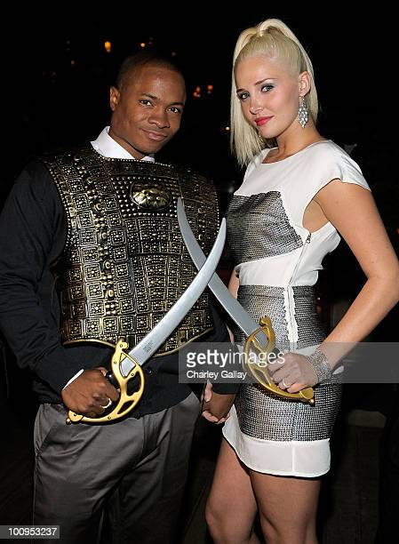 Actor Sam Jones III and model Karissa Shannon attend the launch of the Prince of Persia video game presented by Ubisoft and Break Media at Sky Bar on...