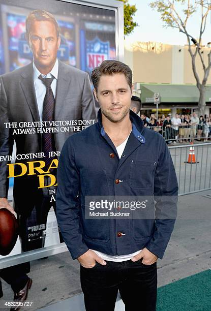 """Actor Sam Page attends Premiere Of Summit Entertainment's """"Draft Day"""" at Regency Bruin Theatre on April 7, 2014 in Los Angeles, California."""