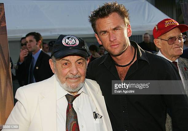 Actor Sam Robinson poses with WWII veteran George Anastasio at a special screening of Miramax's The Great Raid at The Intrepid Sea Air Space Museum...