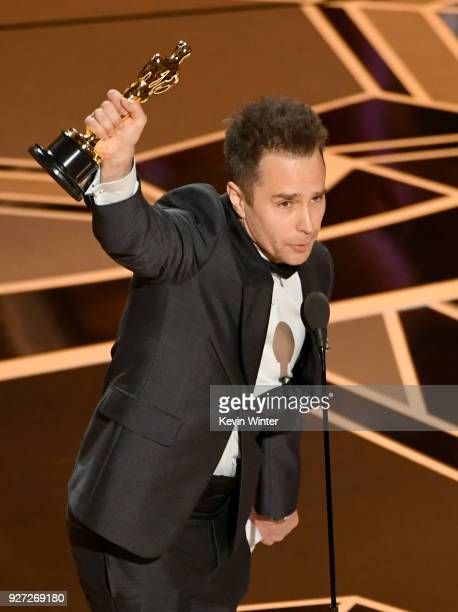 Actor Sam Rockwell accepts Best Suppoorting Actor for 'Three Billboards Outside Ebbing Missouri' onstage at the 90th Annual Academy Awards at the...