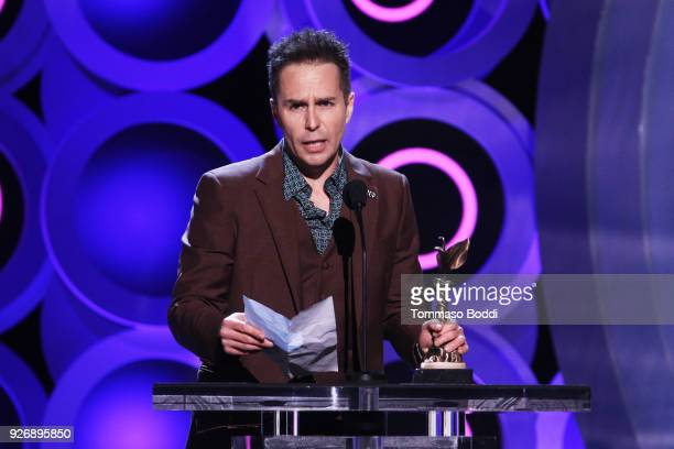 Actor Sam Rockwell accepts Best Supporting Male for 'Three Billboards Outside Ebbing Missouri' onstage during the 2018 Film Independent Spirit Awards...