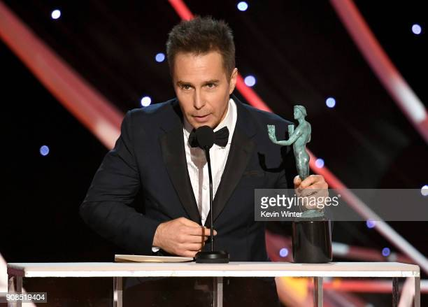Actor Sam Rockwell accepts the Outstanding Performance by a Male Actor in a Supporting Role award for 'Three Billboards Outside Ebbing Missouri'...