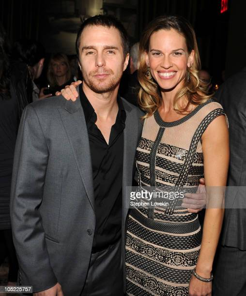 Actor Sam Rockwell and actress Hilary Swank attend the Cinema Society Laura Mercier host the after party for Conviction at Soho Grand Hotel on...