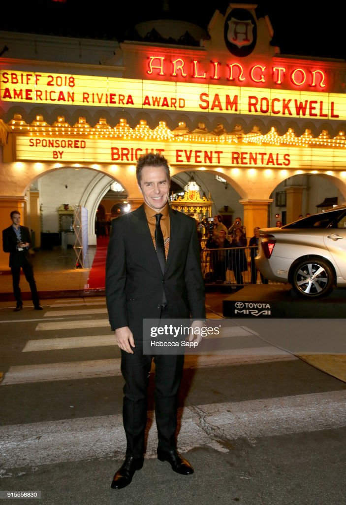 Actor Sam Rockwell at The American Riviera Award Honoring Sam Rockwell during The 33rd Santa Barbara International Film Festival at Arlington Theatre on February 7, 2018 in Santa Barbara, California.