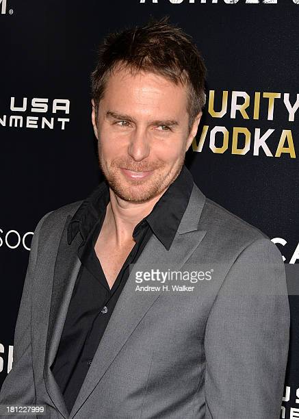 Actor Sam Rockwell attends the Tribeca Film and The Cinema Society screening of 'A Single Shot' at Tribeca Grand Hotel on September 19 2013 in New...