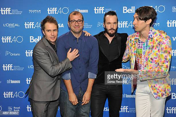 Actor Sam Rockwell director Paco Cabezas actor Michael Eklund and writer Max Landis attend the 'Mr Right' press conference at the 2015 Toronto...
