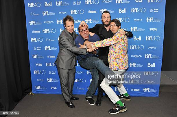 Actor Sam Rockwell, director Paco Cabezas, actor Michael Eklund and writer Max Landis attend the 'Mr. Right' press conference at the 2015 Toronto...