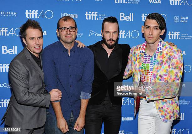 Actor Sam Rockwell, Director Paco Cabezas, Actor Michael Eklund and Screenwriter Max Landis attend the 'Mr. Right' press conference at the 2015...