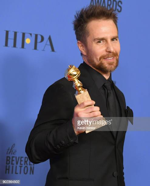 Actor Sam Rockwell holds his award for Best Performance by an Actor in a Supporting Role in any Motion Picture in the press room during The 75th...