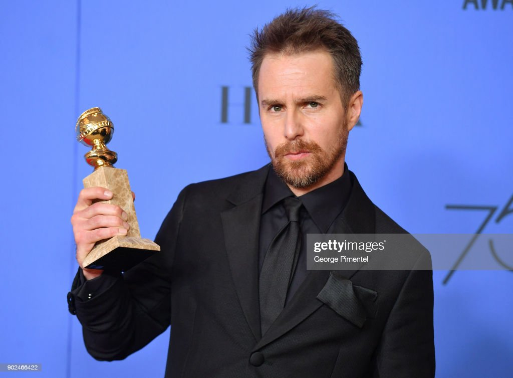 Actor Sam Rockwell holds his award for Best Performance by an Actor in a Supporting Role in any Motion Picture poses in the press room during the 75th Annual Golden Globe Awards at The Beverly Hilton Hotel on January 7, 2018 in Beverly Hills, California.