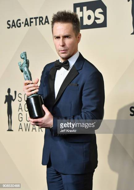 Actor Sam Rockwell poses in the press room during the 24th Annual Screen ActorsGuild Awards at The Shrine Auditorium on January 21, 2018 in Los...