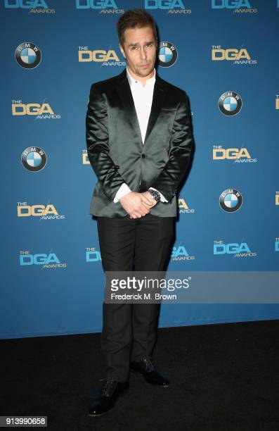 Actor Sam Rockwell poses in the press room during the 70th Annual Directors Guild Of America Awards at The Beverly Hilton Hotel on February 3 2018 in...