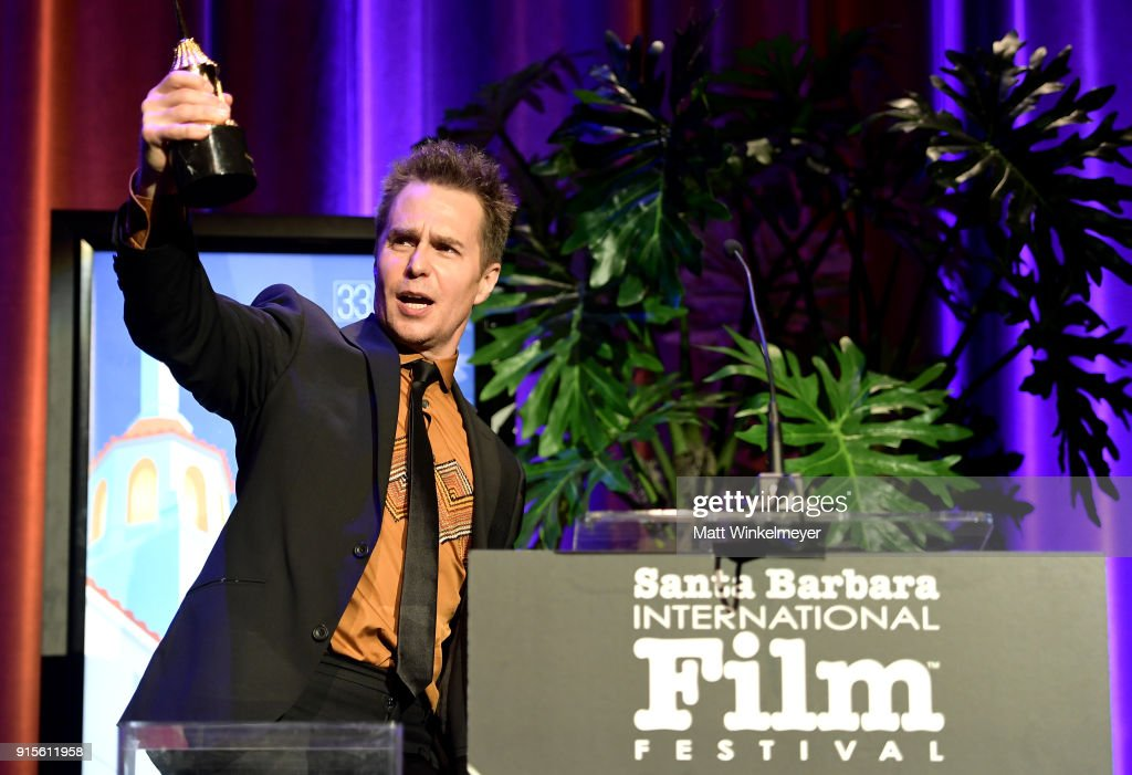 Actor Sam Rockwell speaks onstage with The American Riviera Award at The American Riviera Award Honoring Sam Rockwell during The 33rd Santa Barbara International Film Festival at Arlington Theatre on February 7, 2018 in Santa Barbara, California.