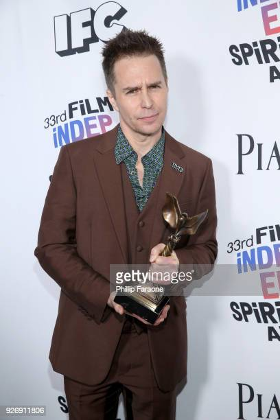 Actor Sam Rockwell winner of Best Supporting Male for 'Three Billboards Outside Ebbing Missouri' poses in the press room during the 2018 Film...