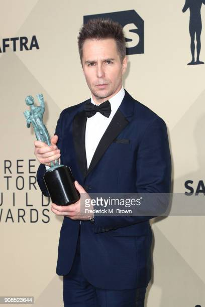 Actor Sam Rockwell winner of Outstanding Performance by a Male Actor in a Supporting Role for 'Three Billboards Outside Ebbing Missouri' poses in the...