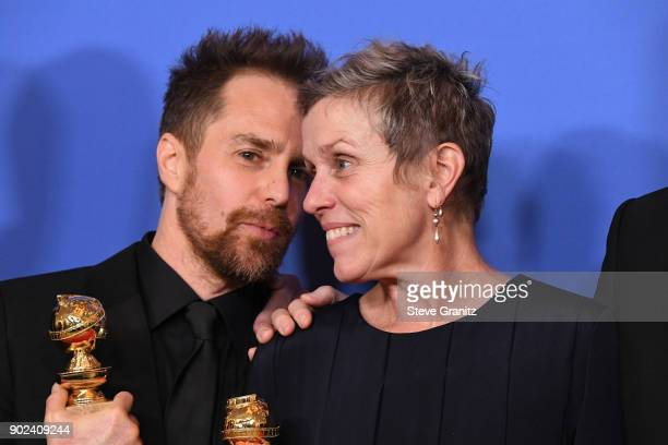 Actor Sam Rockwell winner of the award for Best Performance by an Actor in a Supporting Role in a Motion Picture and actor Frances McDormand winner...
