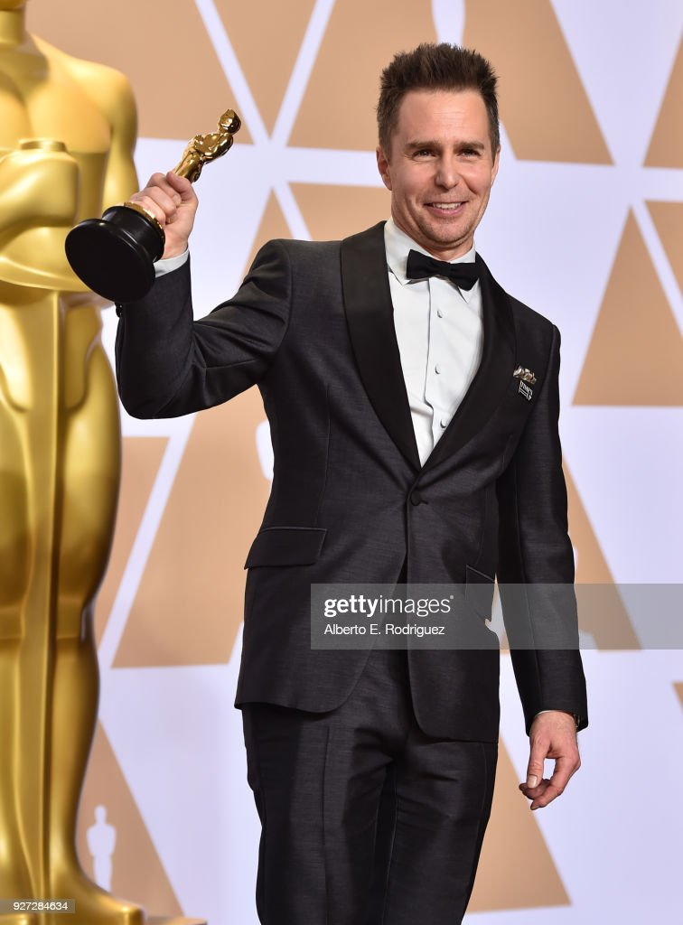 Actor Sam Rockwell, winner of the Best Supporting Actor award for 'Three Billboards Outside Ebbing, Missouri,' poses in the press room during the 90th Annual Academy Awards at Hollywood & Highland Center on March 4, 2018 in Hollywood, California.