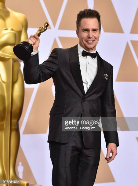 Actor Sam Rockwell winner of the Best Supporting Actor award for 'Three Billboards Outside Ebbing Missouri' poses in the press room during the 90th...
