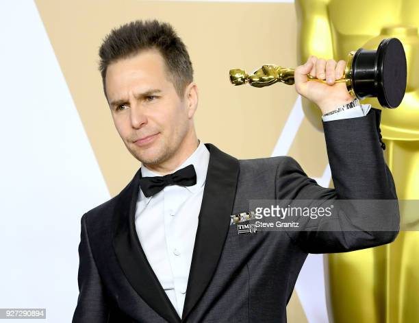 Actor Sam Rockwell winner of the Best Supporting Actor award for 'Three Billboards Outside Ebbing Missouri poses in the press room during the 90th...