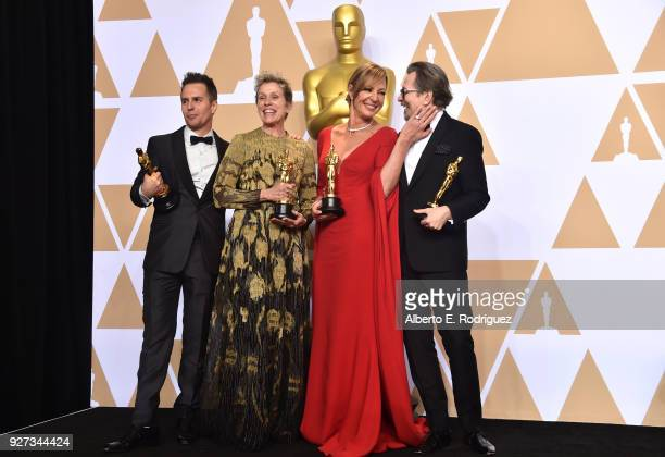 Actor Sam Rockwell, winner of the Best Supporting Actor award for 'Three Billboards Outside Ebbing, Missouri;' actor Frances McDormand, winner of the...
