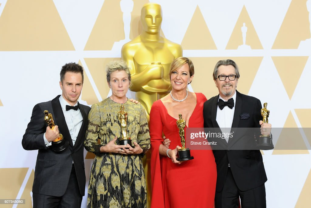 Actor Sam Rockwell, winner of the Best Supporting Actor award for 'Three Billboards Outside Ebbing, Missouri', actor Frances McDormand, winner of the Best Actress award for 'Three Billboards Outside Ebbing, Missouri', actor Allison Janney, winner of the Best Supporting Actress award for 'I, Tonya' and actor Gary Oldman, winner of the Best Actor award for 'Darkest Hour,' pose in the press room during the 90th Annual Academy Awards at Hollywood & Highland Center on March 4, 2018 in Hollywood, California.