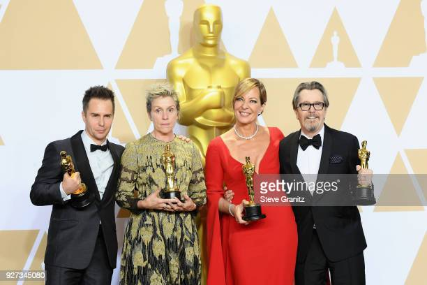 Actor Sam Rockwell winner of the Best Supporting Actor award for 'Three Billboards Outside Ebbing Missouri' actor Frances McDormand winner of the...
