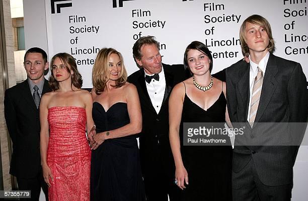 Actor Sam Shepard and actress Jessica Lange pose with family members Shura Baryshnikov her husband Bruce Bryan Hanna Shepard and Walker Shepard...