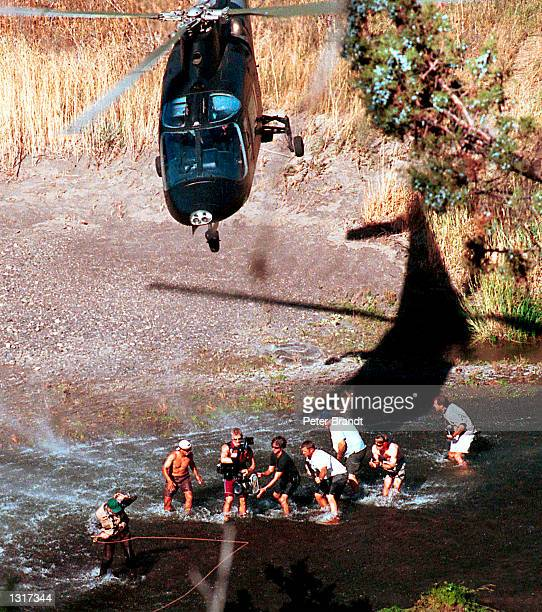 Actor Sam Shepard left and crew film a scene from the new movie Swordfish in this undated photo taken in February 2001 in Medford OR Shepard plays a...