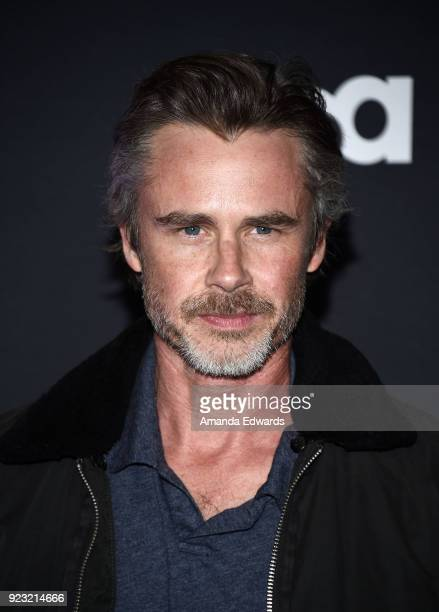Actor Sam Trammell arrives at the premiere of USA Network's 'Unsolved The Murders of Tupac and The Notorious BIG' at Avalon on February 22 2018 in...