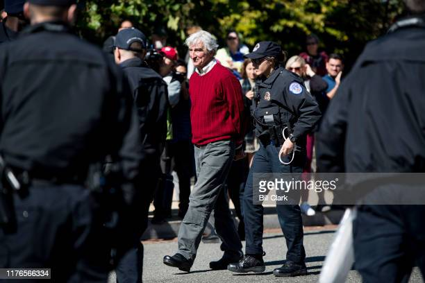 Actor Sam Waterston is arrested by US Capitol Police along with Jane Fonda and other climate activists after blocking 1st Street in front of the...