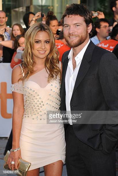 """Actor Sam Worthington and Natalie Mark attend """"The Debt"""" Premiere during the 35th Toronto International Film Festival at Roy Thomson Hall on..."""