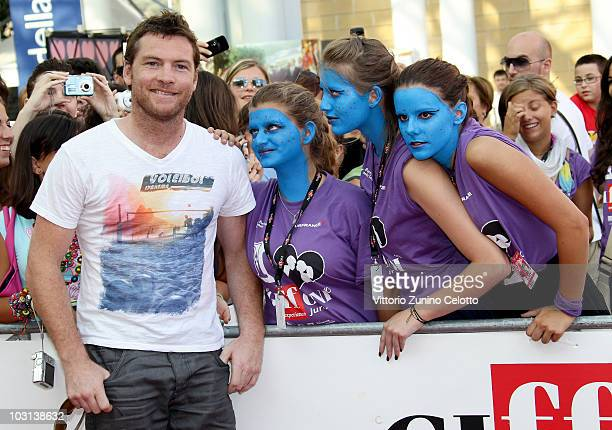 Actor Sam Worthington poses with the fans during Giffoni Experience 2010 on July 28 2010 in Giffoni Valle Piana Italy