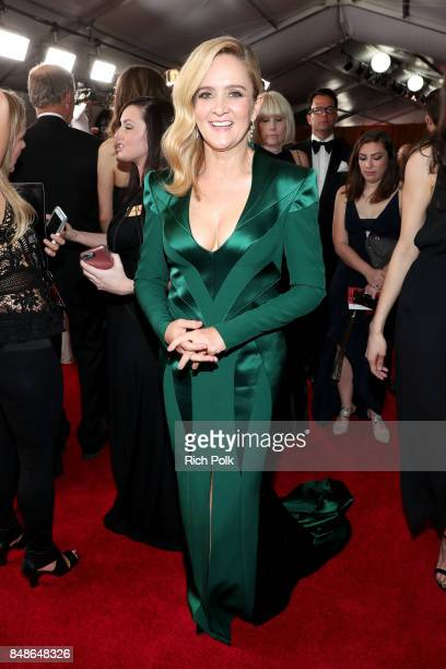 Actor Samantha Bee walks the red carpet during the 69th Annual Primetime Emmy Awards at Microsoft Theater on September 17 2017 in Los Angeles...