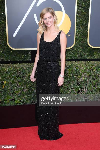 Actor Samara Weaving attends The 75th Annual Golden Globe Awards at The Beverly Hilton Hotel on January 7 2018 in Beverly Hills California