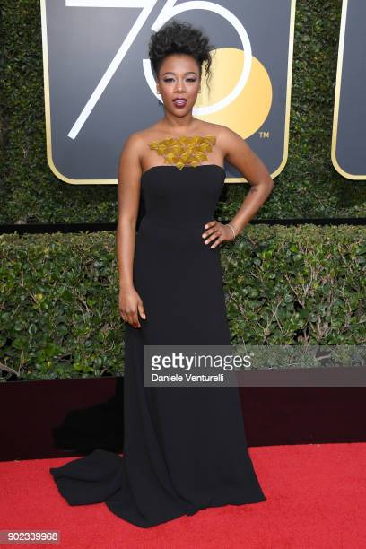 Actor Samira Wiley attends The 75th Annual Golden Globe Awards at The Beverly Hilton Hotel on January 7 2018 in Beverly Hills California