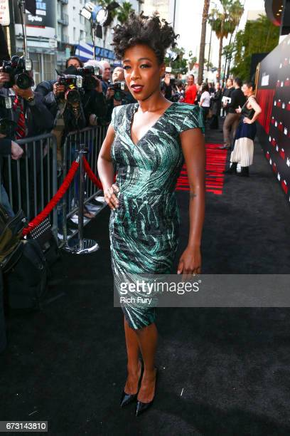 Actor Samira Wiley attends the premiere of Hulu's 'The Handmaid's Tale' at ArcLight Cinemas Cinerama Dome on April 25 2017 in Hollywood California
