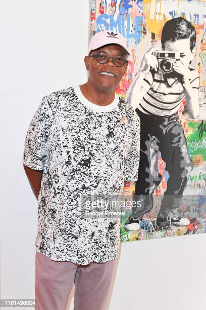 """Actor Samual L. Jackson attends """"Mr. Brainwash"""" Solo Exhibit Launch at Taglialatella Galleries on July 11, 2019 in Toronto, Canada."""