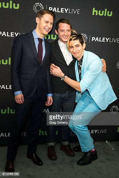 "Actor Samuel Barnett, Executive Producer/Writer Max Landis and Actor Elijah Wood arrive for the PaleyLive LA - ""Dirk Gently's Holistic Detective..."