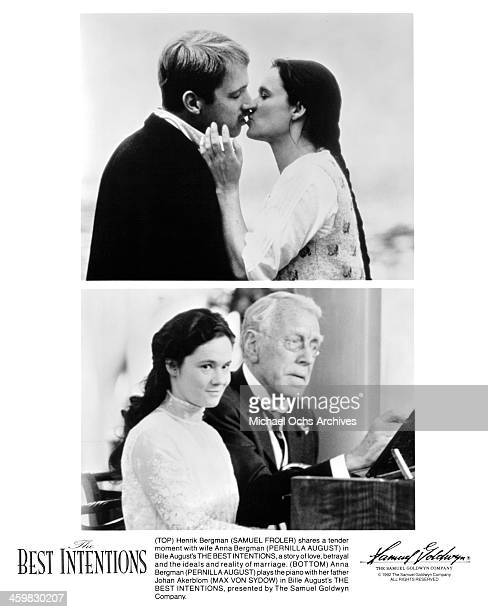 Actor Samuel Froler and actress Pernilla August on set actress Pernilla August and actor Max von Sydow on set of the movie The Best Intentions circa...