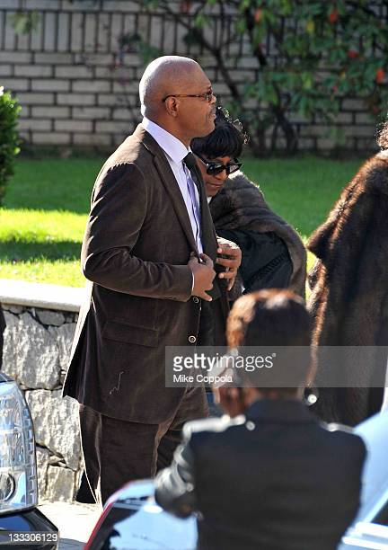 Actor Samuel Jackson and wife LaTanya Richardson attend the funeral service for Heavy D at Grace Baptist Church on November 18 2011 in Mount Vernon...