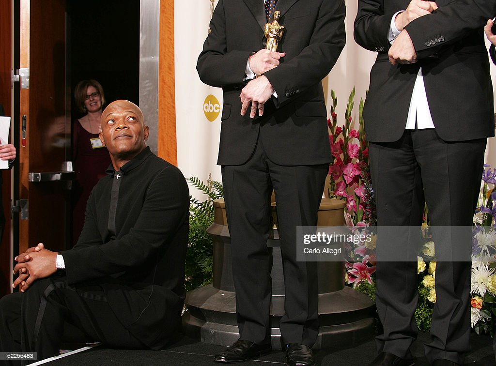 Actor Samuel Jackson sits backstage during the 77th Annual Academy Awards on February 27, 2005 at the Kodak Theater in Hollywood, California.