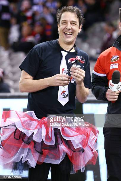 Actor Samuel Johnson is seen during the round 23 AFL match between the St Kilda Saints and the North Melbourne Kangaroos at Etihad Stadium on August...