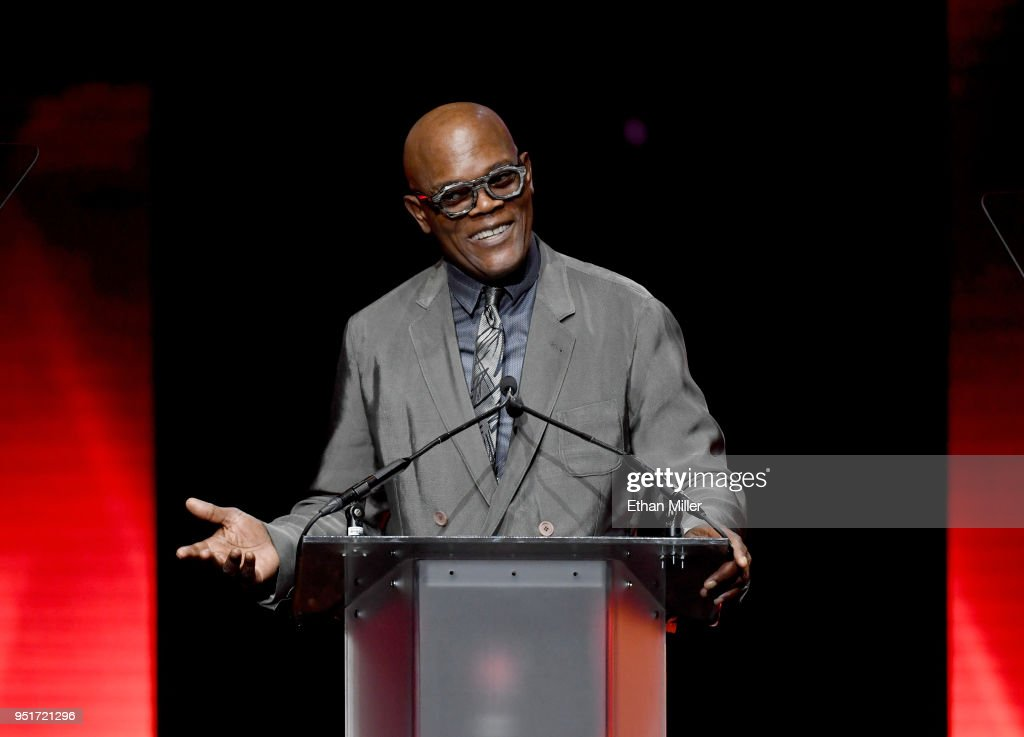 Actor Samuel L. Jackson accepts the Cinema Icon Award onstage during the CinemaCon Big Screen Achievement Awards brought to you by the Coca-Cola Company at The Colosseum at Caesars Palace during CinemaCon, the official convention of the National Association of Theatre Owners, on April 26, 2018 in Las Vegas, Nevada.