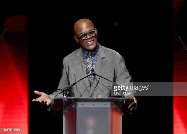 Actor Samuel L Jackson accepts the Cinema Icon Award onstage during the CinemaCon Big Screen Achievement Awards brought to you by the CocaCola...