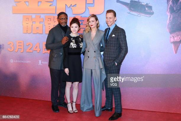 Actor Samuel L Jackson actress Jing Tian actress Brie Larson and actor Tom Hiddleston attend the press conference of film 'Kong Skull Island ' at...